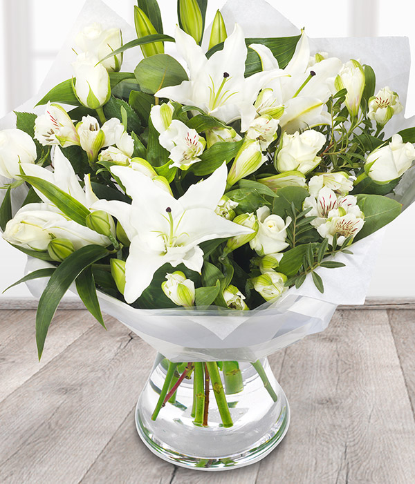 Fragrant white oriental lilies
