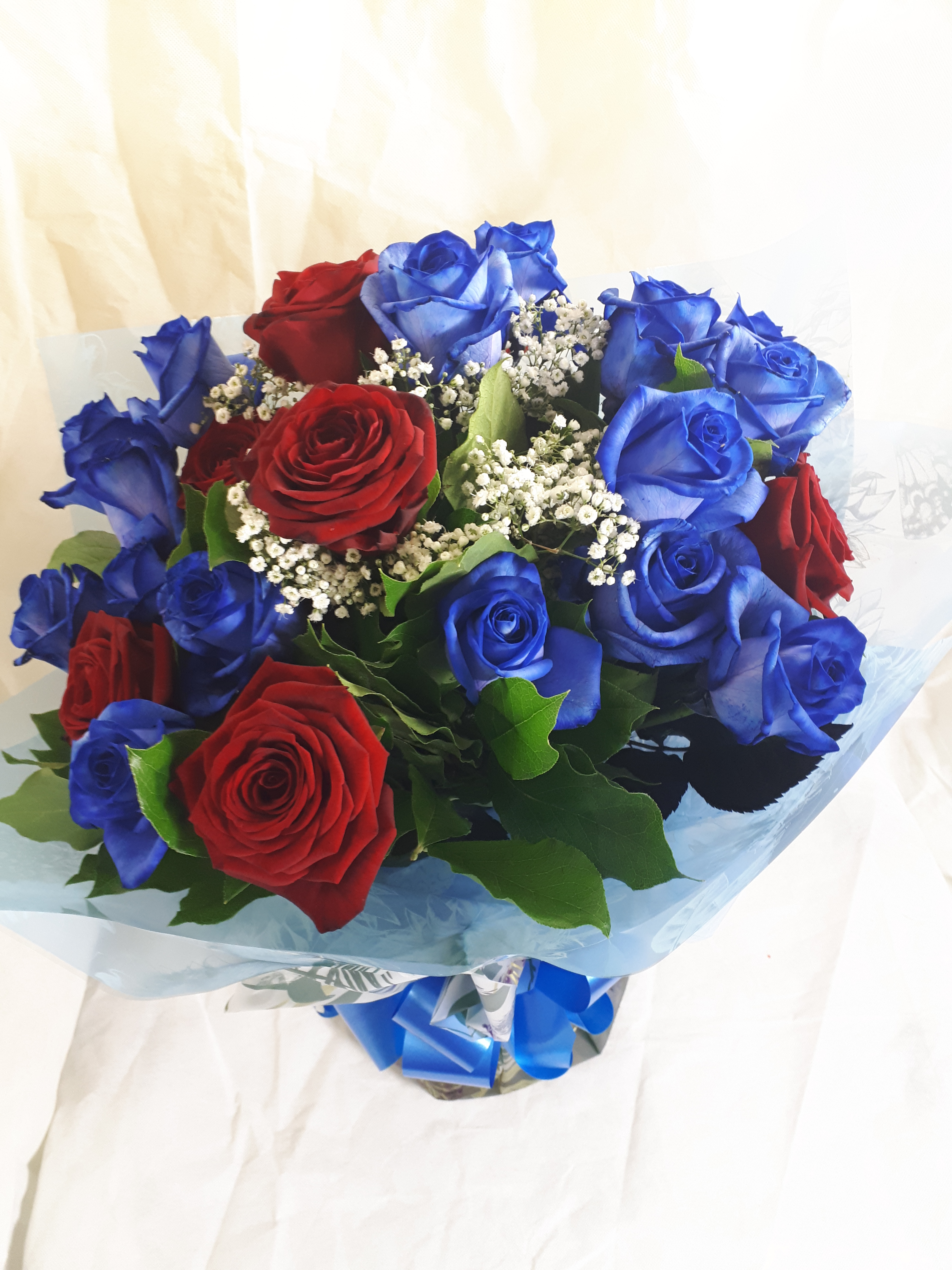 Blue And Red Roses Sunflowers Florist